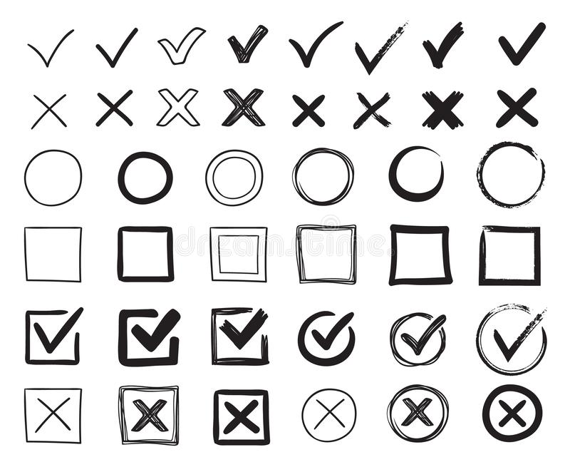 Doodle check marks. Hand drawn checkbox, examination mark and checklist marks. Check signs sketch vector illustration. Doodle check marks. Hand drawn checkbox stock illustration