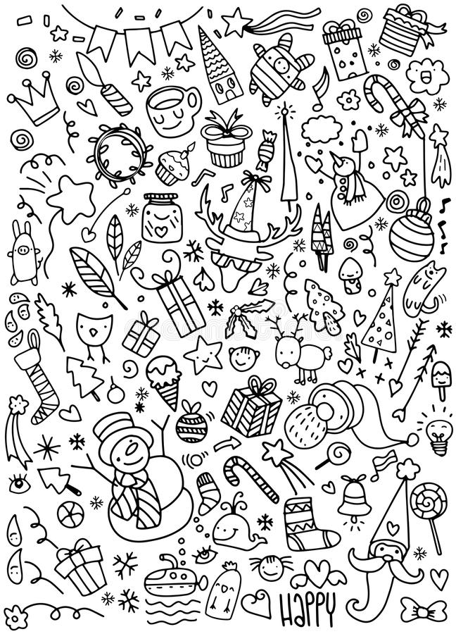 Doodle Christmas background royalty free illustration