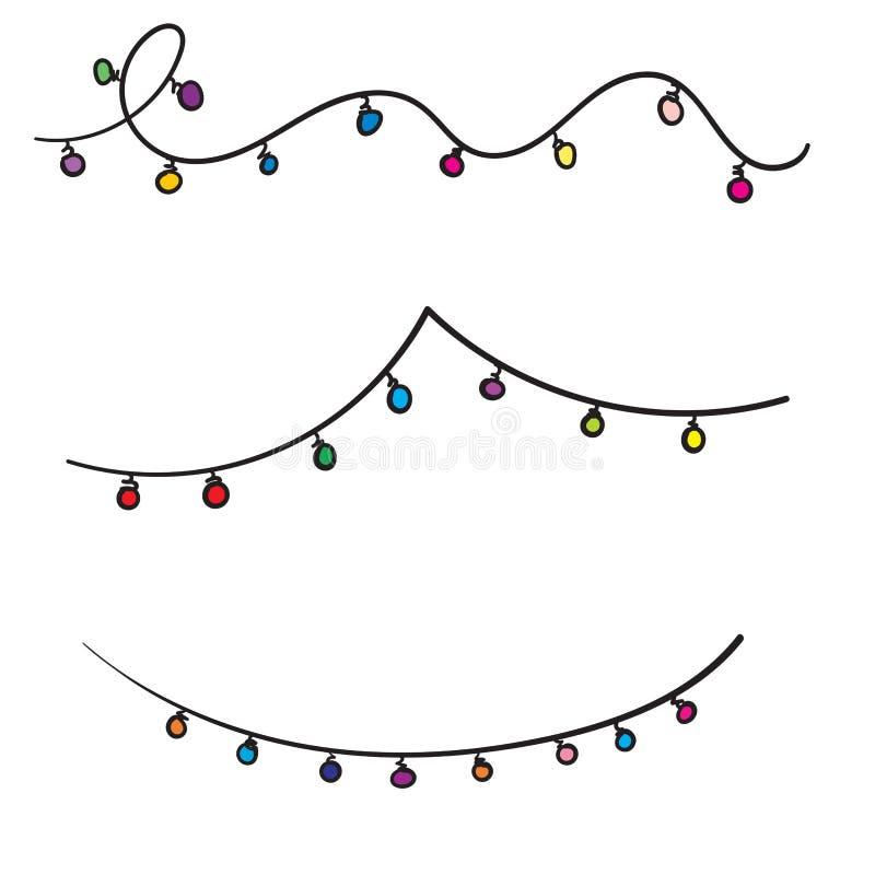 Doodle Christmas lights. Holiday festive xmas decoration. Colorful string fairy light set. Lightbulb glowing garland. Rainbow. Color. hand drawn design. White stock illustration