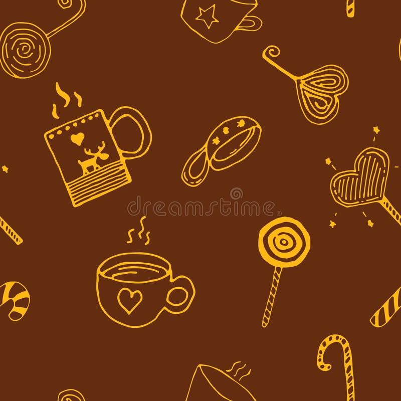 Doodle Christmas seamless pattern with cups, drinks, sweets, coffee, cacao, teea, hot chocolate, hearts, loly-pops, elk stock illustration