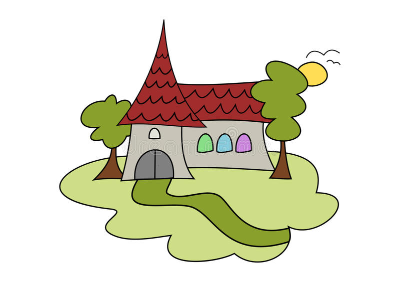 Doodle church drawing vector illustration