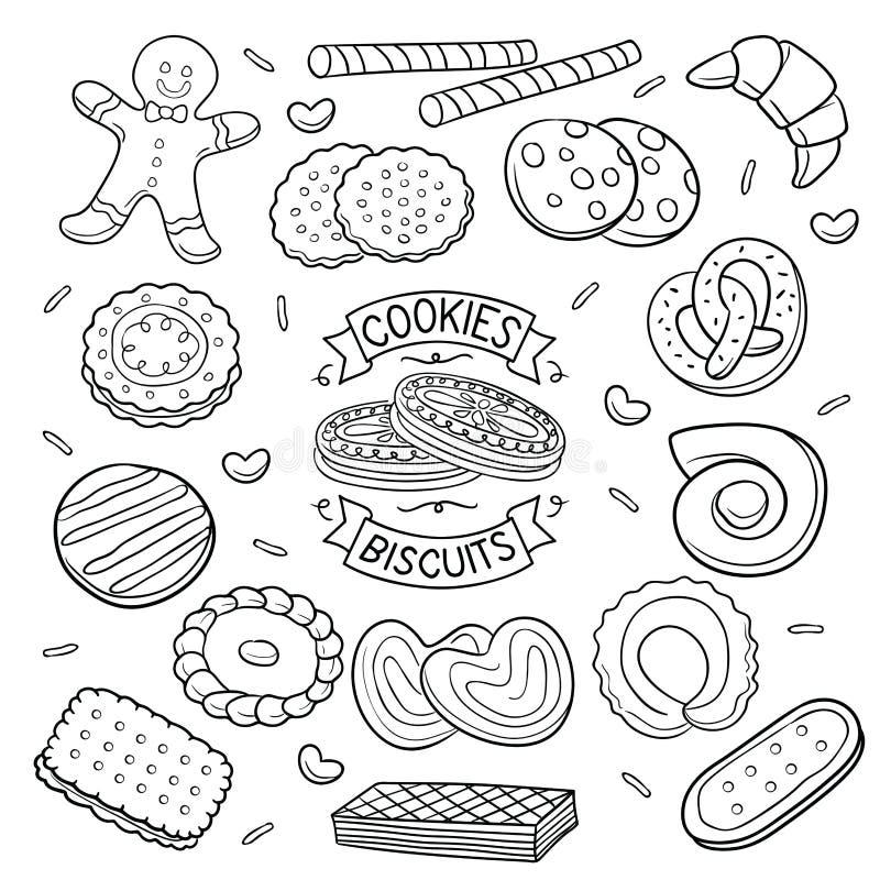 Doodle ciastka i ciastka ilustracja wektor