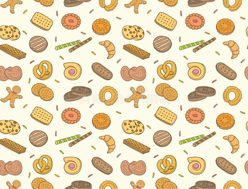 Doodle ciastka i biskwitowy bezszwowy wzór royalty ilustracja