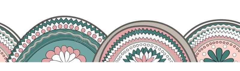 Doodle circle texture horizontal seamless pattern background. Summer borde, frame element. Vector hand drawn illustration royalty free illustration