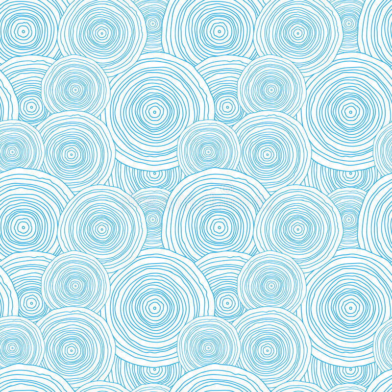 Doodle circle water texture seamless pattern vector illustration
