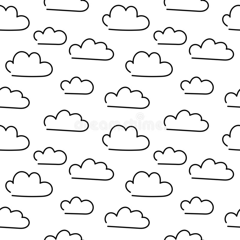Doodle clouds. Hand drawn Vector Seamless pattern royalty free illustration