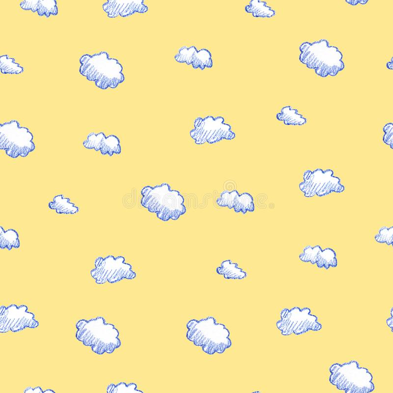Doodle clouds pattern. Hand drawn colorful seamless background with cute clouds. Scandinavian style print. stock illustration