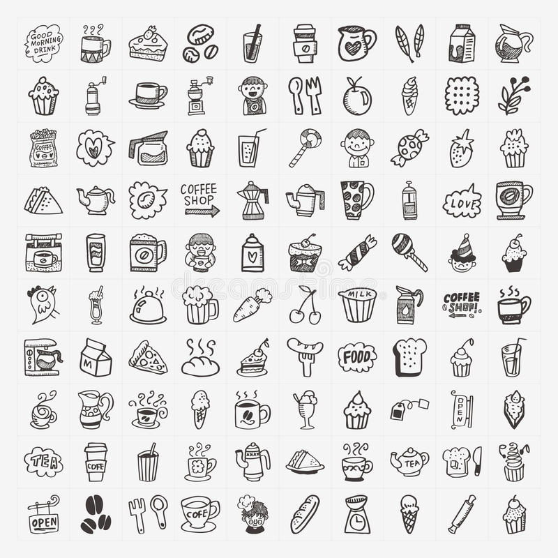 Download 100 Doodle Coffee Element Icons Set Stock Vector - Image: 34793123