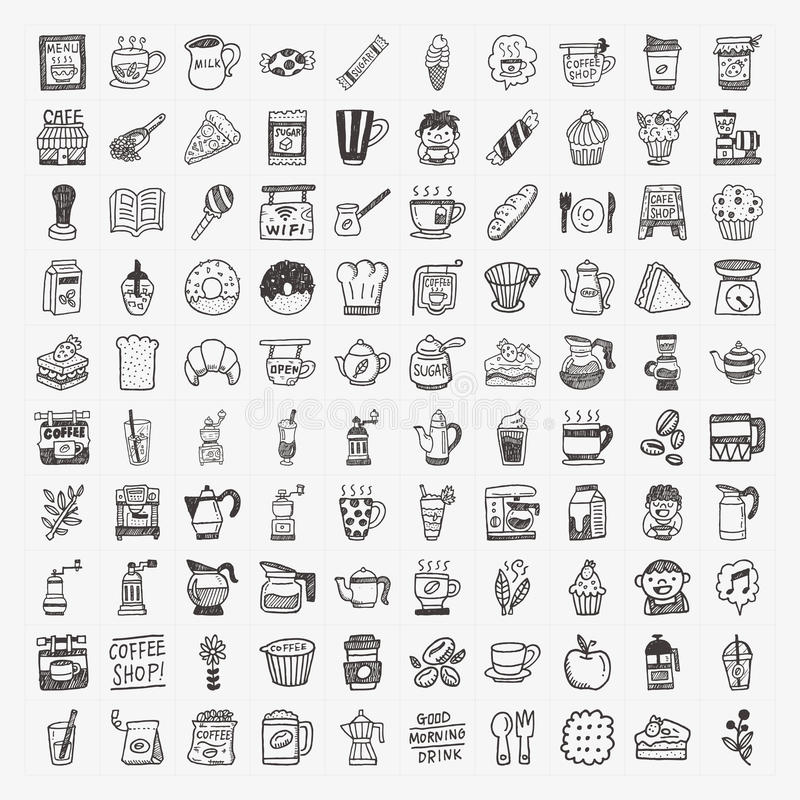 Download 100 Doodle Coffee Element Icons Set Stock Vector - Illustration: 34873124