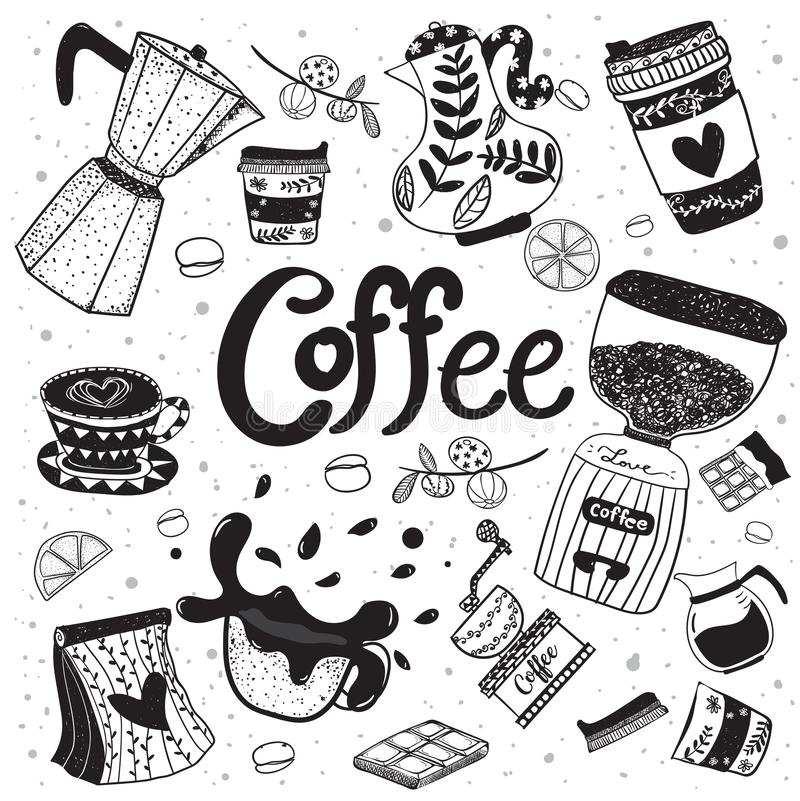 Doodle coffee equipment hand drawing flat vector element royalty free illustration