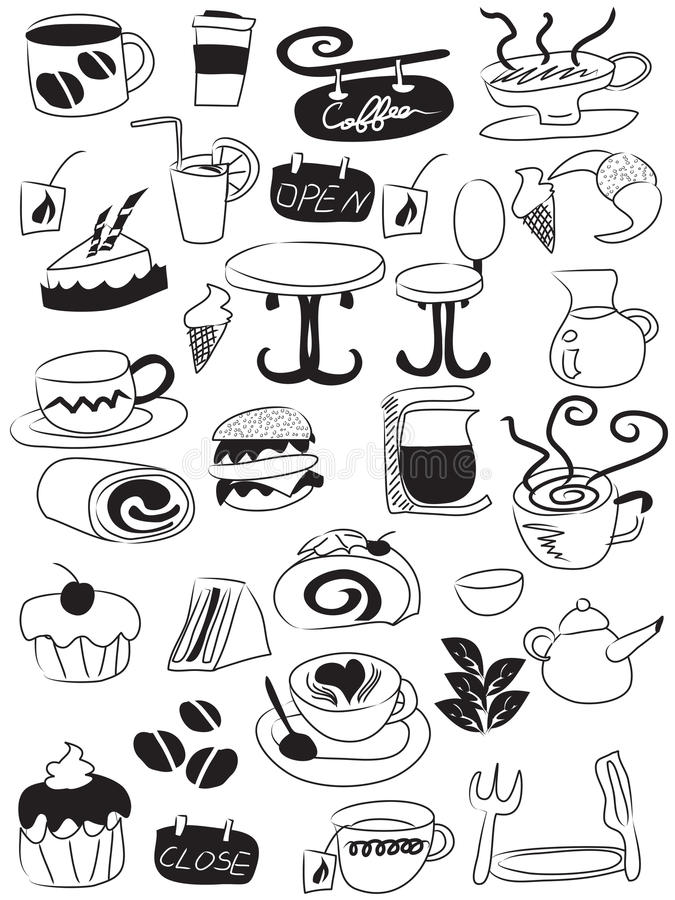 Download Doodle Coffee And Tea Icon Set Stock Vector - Illustration: 22272992