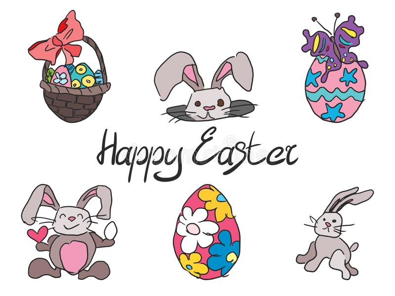 Doodle collection of drawings for the Easter holiday in color. With text stock illustration