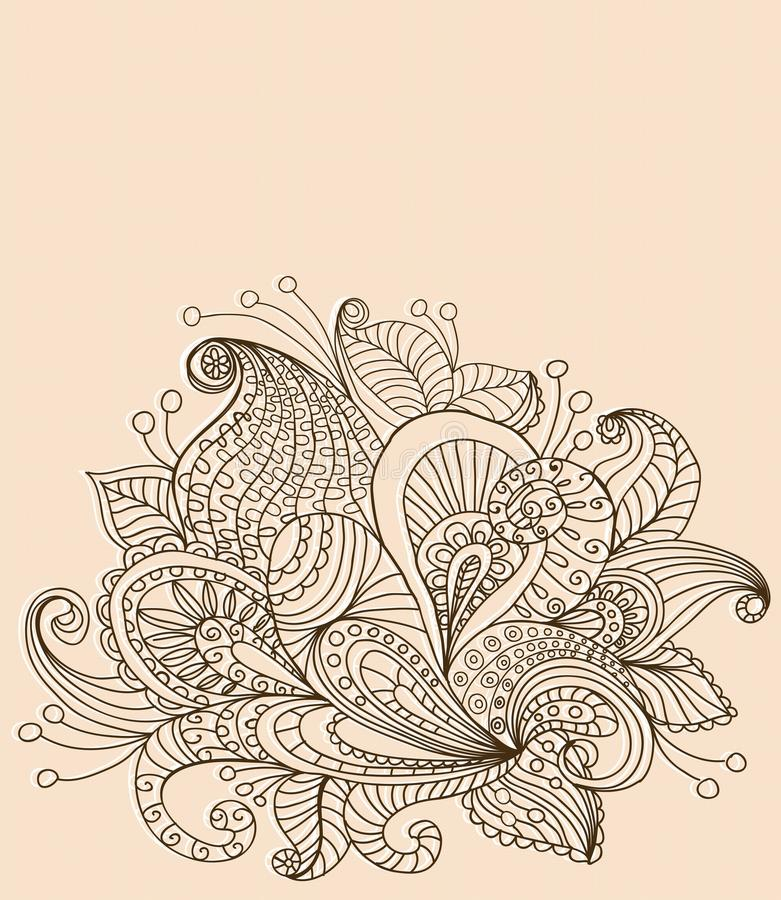 Doodle Color Floral Background Stock Images