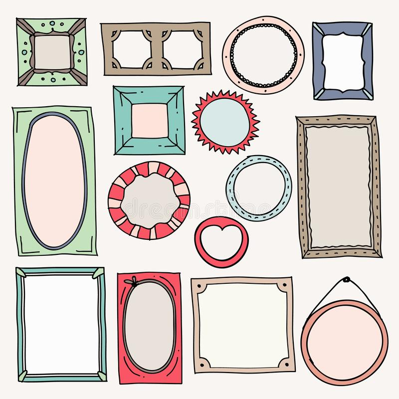 Sketch color frames. Vintage photo frame hand drawn square oval picture for scrapbook scribble journaling borders vector royalty free illustration