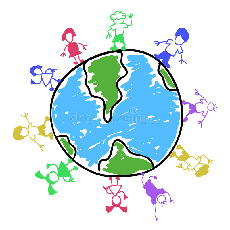 Doodle color kids around the world royalty free illustration