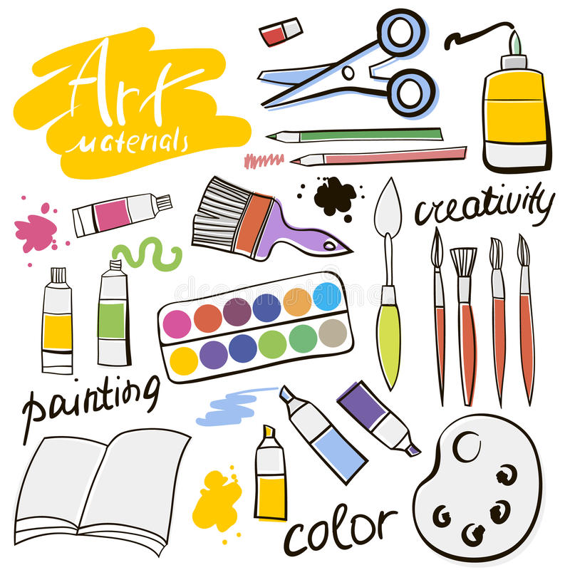 Doodle colored art materials collection. Hand drawn art icons set. Vector Illustration. Doodle colored art materials collection. Hand drawn art icons set vector illustration