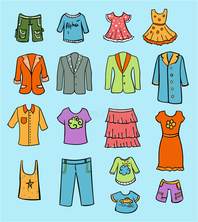 Doodle Colored Family Clothing Set vector illustration
