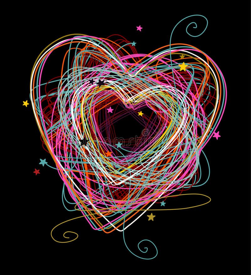 Doodle colorful heart. Hand drawn sketchy background - doodle heart on black royalty free illustration