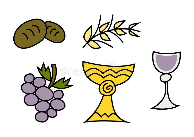 Doodle colorido fijado: Símbolos religiosos libre illustration