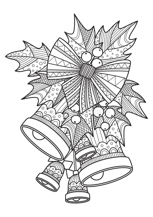 Bell With Bow Outline. Coloring Book Page For Children ...