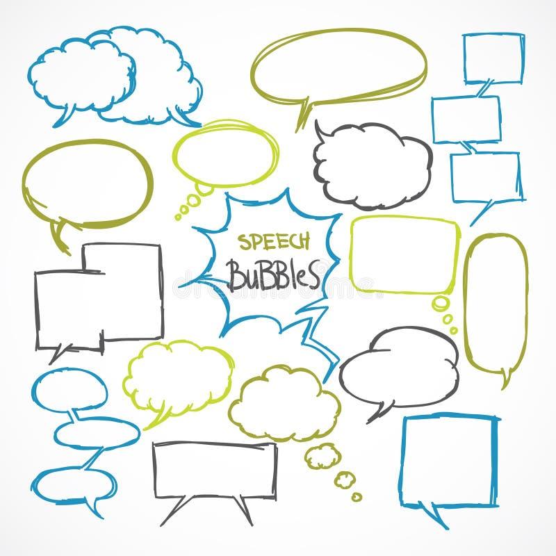 Doodle comic speech bubbles set royalty free illustration