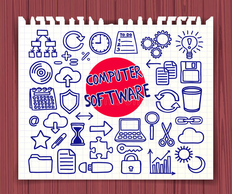 Doodle Computer Software set. Computer Software set. Freehand doodle icons. Hand drawn doodle symbols collection. Graphic elements for web sites, corporate royalty free illustration