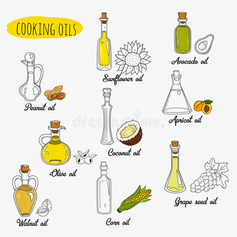 9 doodle cooking oils. Mixed colored and outline royalty free illustration