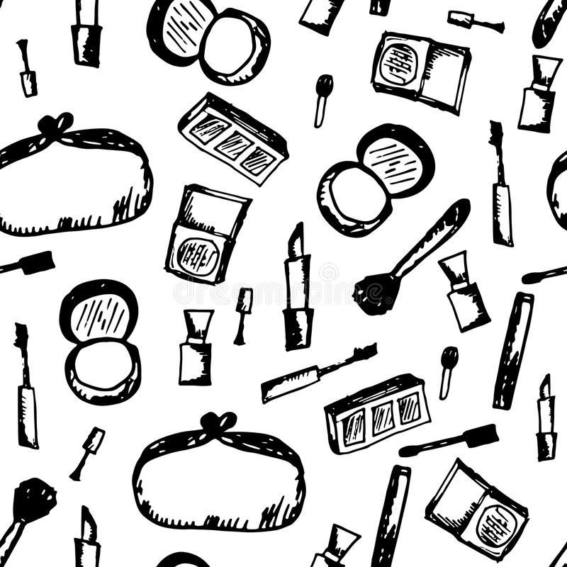 Doodle cosmetic black and white pattern. Fashion background with makeup items. Nail polish, mirror, perfume, lipstick, powder brush, mascara, eye shadow in royalty free illustration