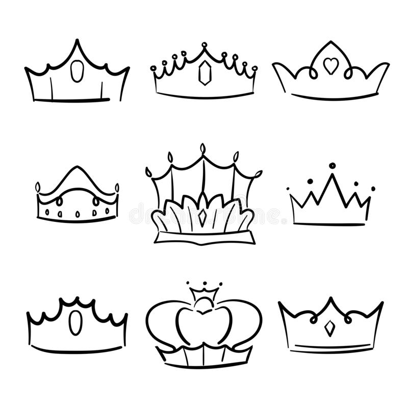 Doodle crown princess collection. Simple crowning, elegant queen or king crowns hand drawn. Vector illustration stock illustration