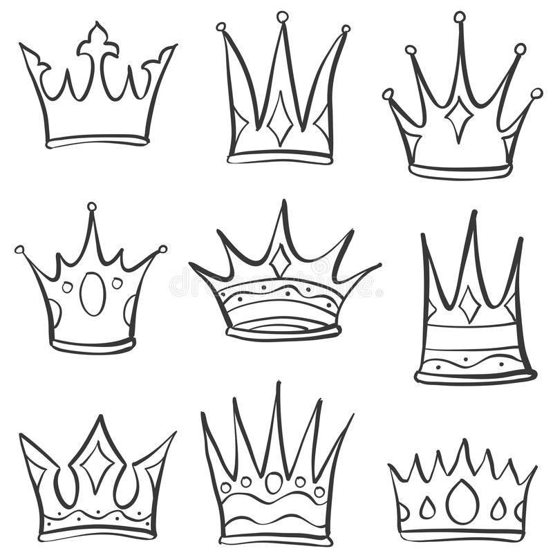 Doodle crown sketch set collection stock illustration