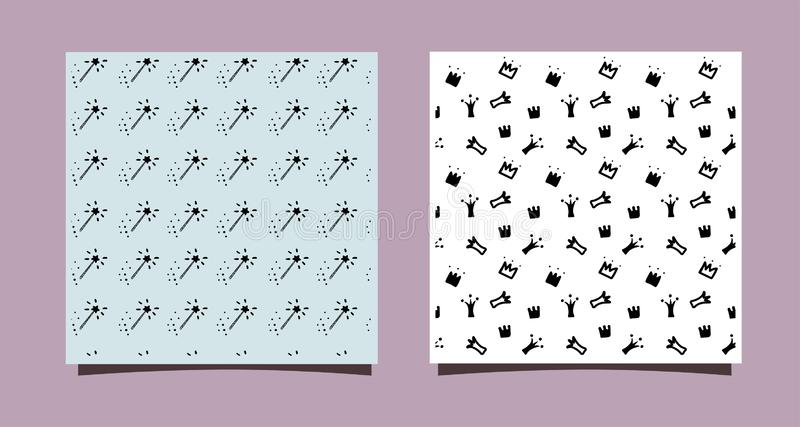 Doodle crowns and magic stick. Hand drawn seamless pattern. Little princess design for nursery wall, clothes, textile, backdrop. Blog. Black and white vector vector illustration