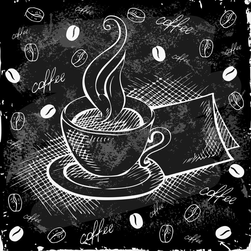 Doodle cup of coffee on a black board stock illustration