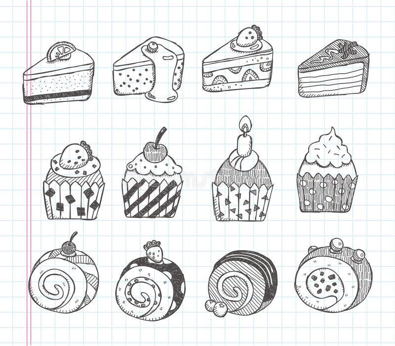 Download Doodle cupcake icons stock vector. Image of draft, drawing - 32022908