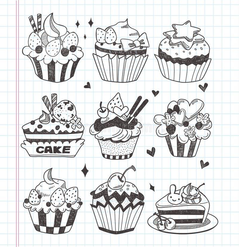Doodle cupcake set vector illustration