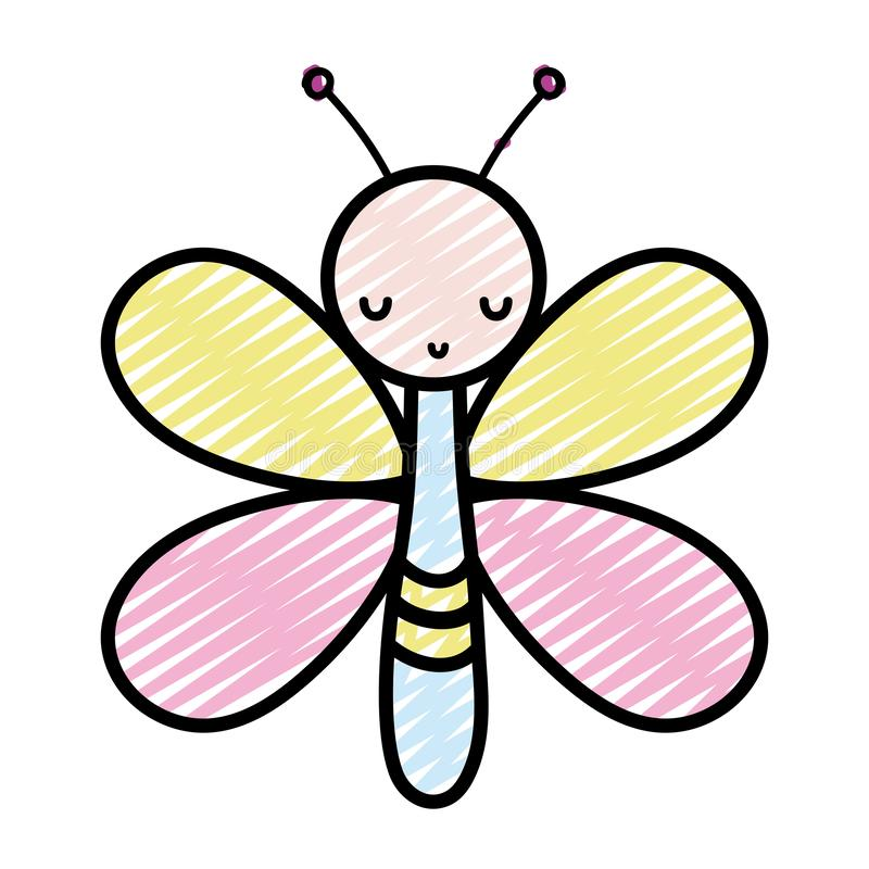 Doodle cute butterfly insect animal with wings. Vector illustration royalty free illustration