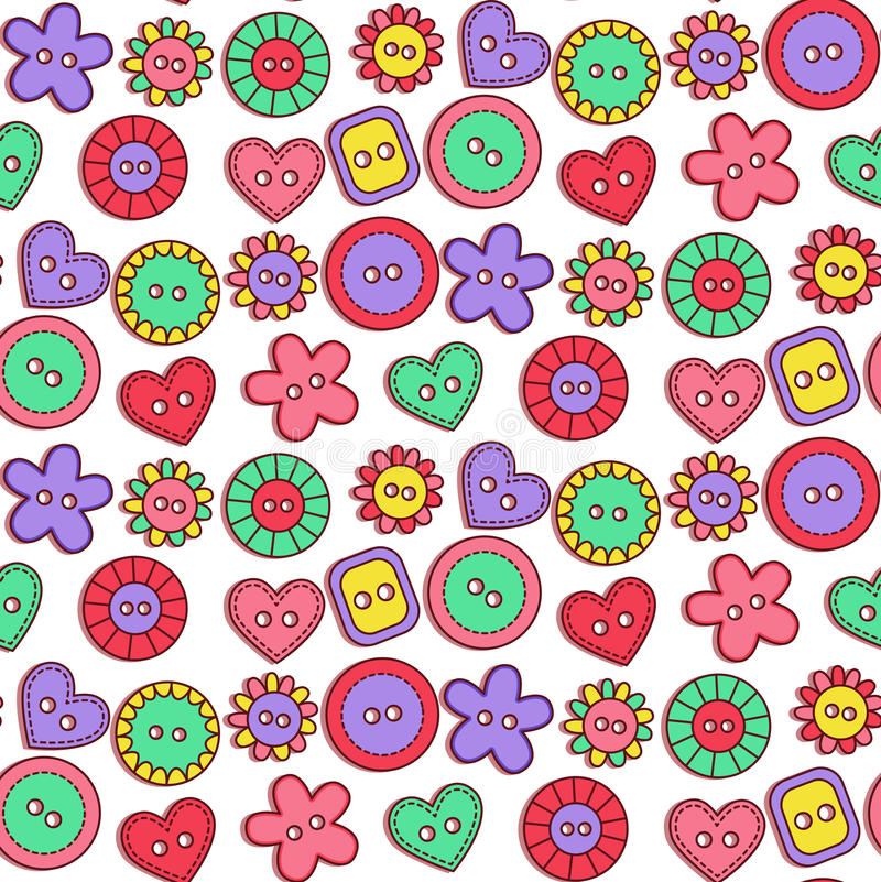 Doodle cute buttons seamless vector pattern royalty free illustration