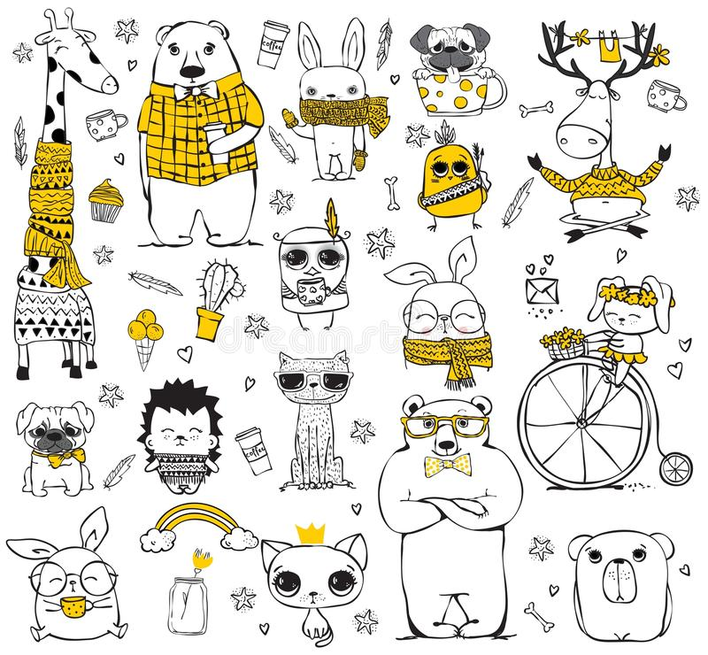 Doodle cute hipster animals stock illustration