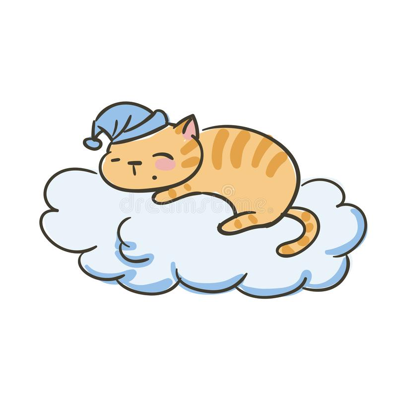 Doodle cute little cat vector sleep on the cloud royalty free illustration