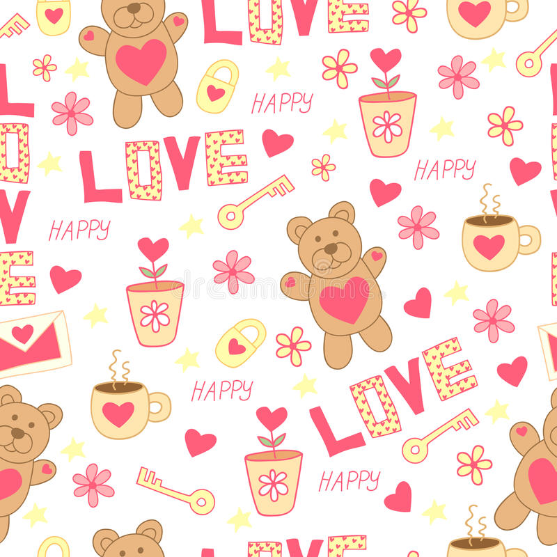 Doodle cute pattern with bear, toy, flowers, hearts, letter, cup, key and padlock. Happy St. Valentine`s Day. royalty free illustration