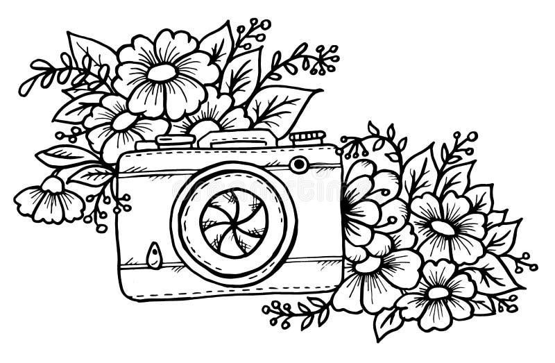 Doodle cute vintage camera royalty free illustration