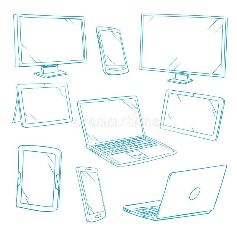 Doodle cyfrowych przyrząda, pastylka, komputer osobisty, laptop, telefon komórkowy kreskowe wektorowe ikony ilustracja wektor