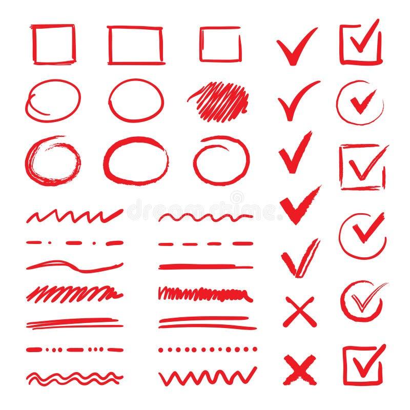 Doodle czeka podkreślenia i oceny Ręki rysujący czerwieni uderzenia i pióra V oceny dla list rzeczy Wektorowi markiera czeka znak ilustracja wektor