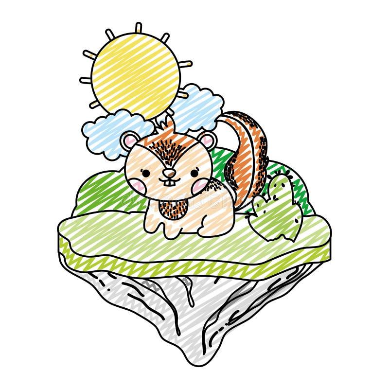 Doodle czułego chipmunk zwierzęcia w pływakowej wyspie royalty ilustracja