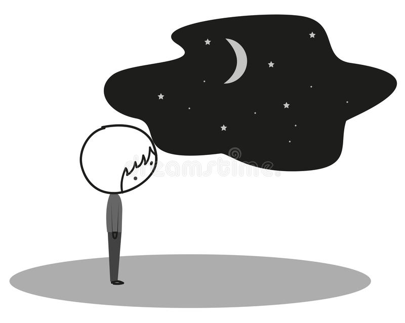 Doodle daydream, muse. Doodle is have a daydream, muse in black and white royalty free illustration
