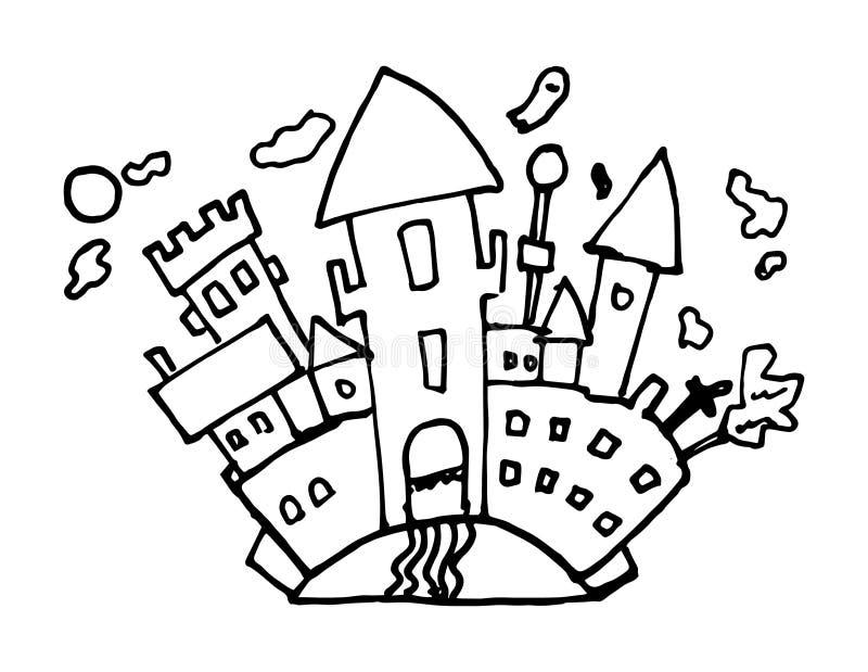 Doodle de castillo espantado. Icono de estilo de esbozo. Elemento decorativo. Aislado sobre fondo blanco. Diseño plano. Vector ilustración del vector