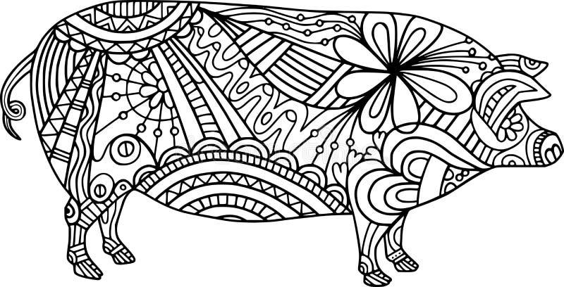Doodle de cerdo de la granja de arte folclórico Color Me libre illustration