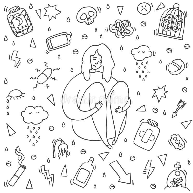 Petite Fille Triste Stock Illustrations Vecteurs Clipart