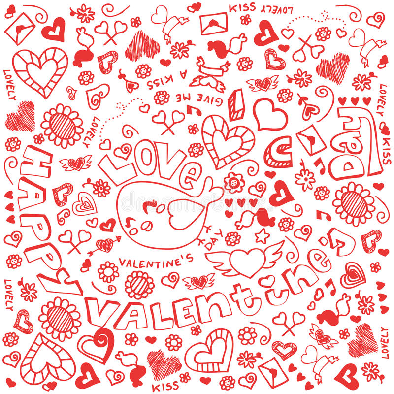 Doodle de la tarjeta del día de San Valentín libre illustration