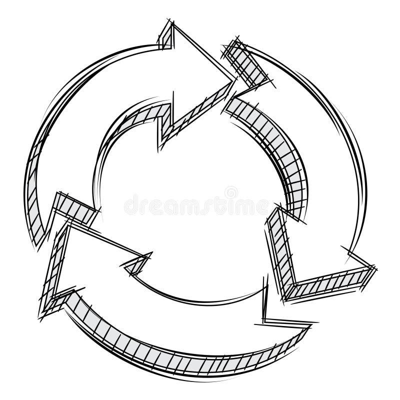 Doodle de três setas circulares ilustração stock