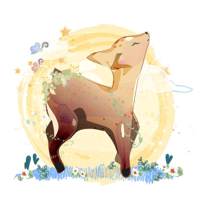 Doodle Deer Painting watercolor in floral vector illustration